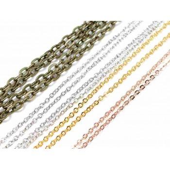 Gliederkette aus Messing mit ovalen Gliedern 2x1,5mm in silberfarben 2m von Vintageparts zum Schmuck selber Machen Messingkette Schmuckketten Ketten
