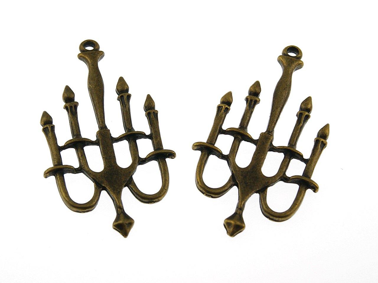 2 gro e kerzenleuchter in vintage bronze vintage parts. Black Bedroom Furniture Sets. Home Design Ideas