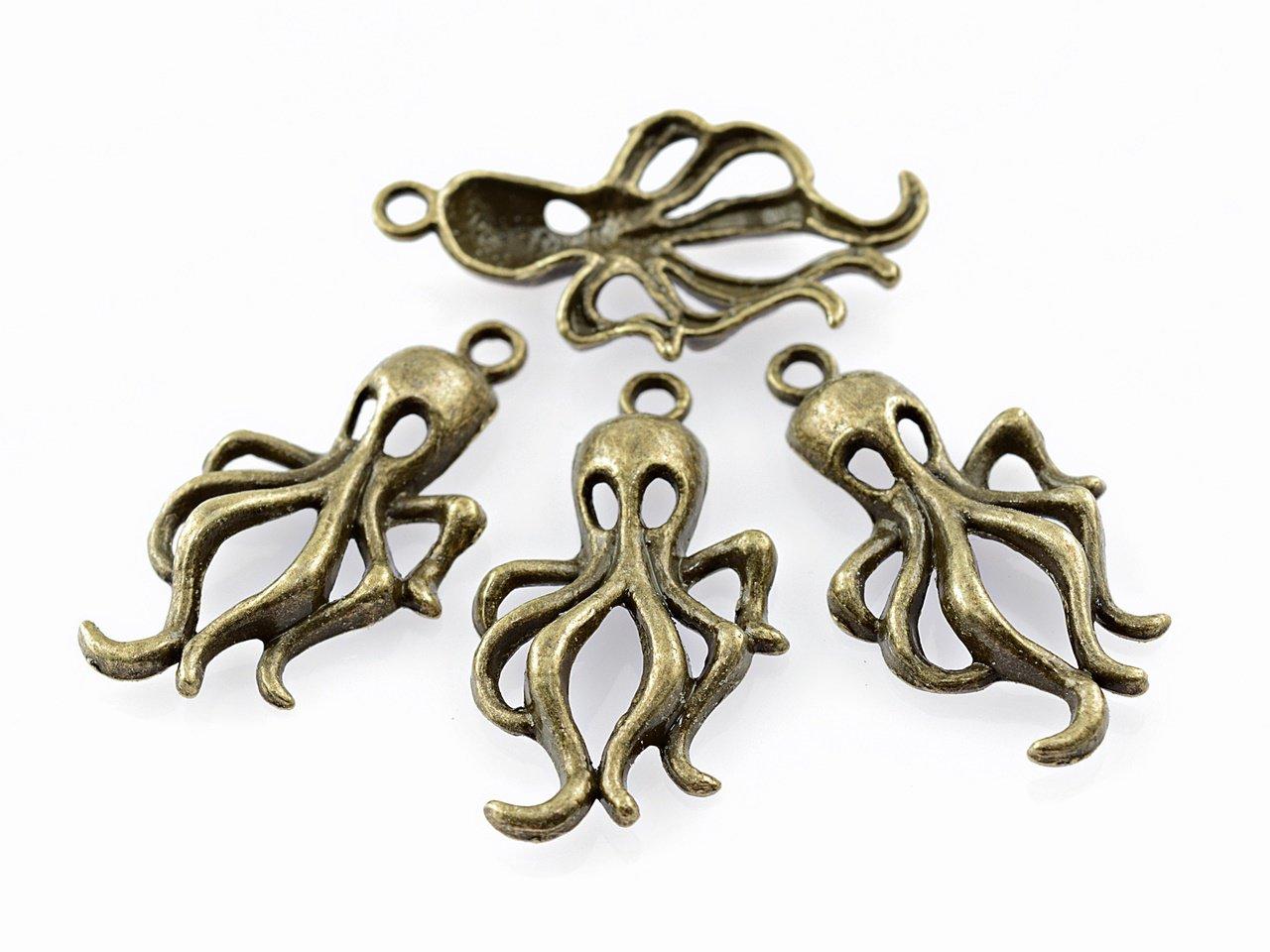 4 anh nger als octopus krake in antik bronze vintage parts. Black Bedroom Furniture Sets. Home Design Ideas
