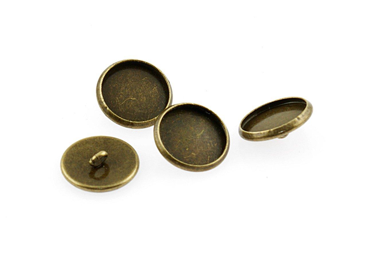 4 Rahmen als Knöpfe in antik Bronze für 12 mm Cabochons, Vintage parts