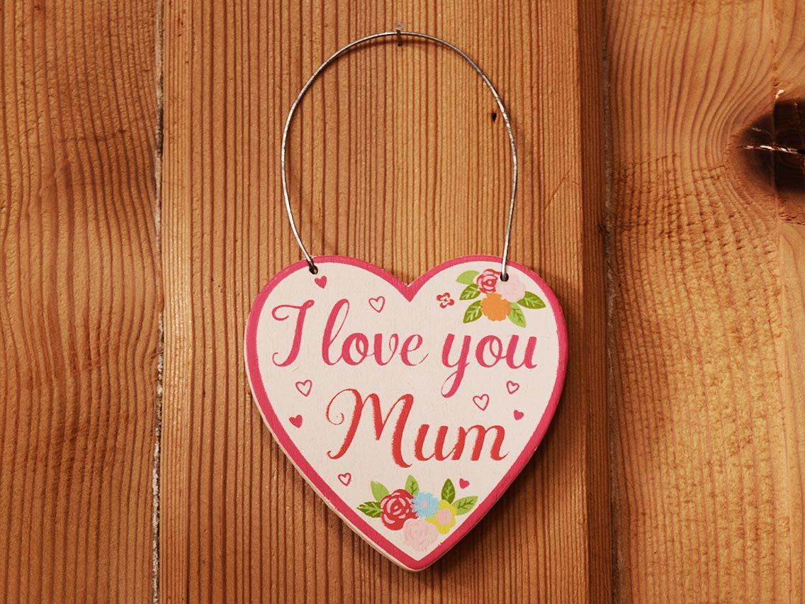 Wanddeko i love you mum in wei und pink aus holz muttertags geschenk vintage parts - Wanddeko holz vintage ...