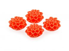 4 Cabochons Blume in neon orange, 15 mm
