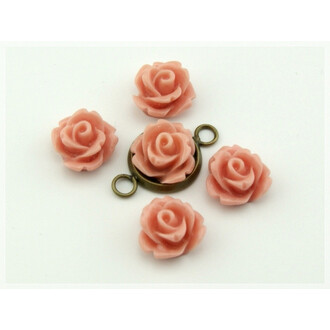 6 Cabochons als Rose in pfirsich, 10 mm