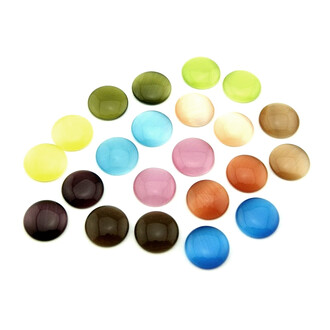 10 Cateye Cabochons als bunte Mischung, 12 mm