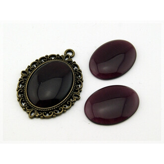2 Cateye Cabochons in amethyst, 25 x 18 mm