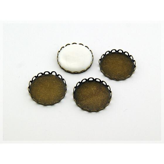 6 Fassungen in antik Bronze für 20 mm Cabochons