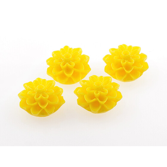 4 Cabochons gelb 15 mm Blume