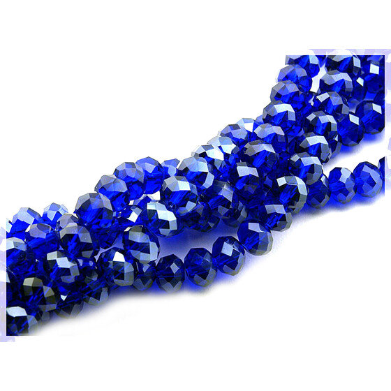 12 Glasschliffperlen in royalblau, 8 mm