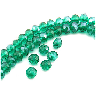 12 Glasschliffperlen in emerald, 8 mm