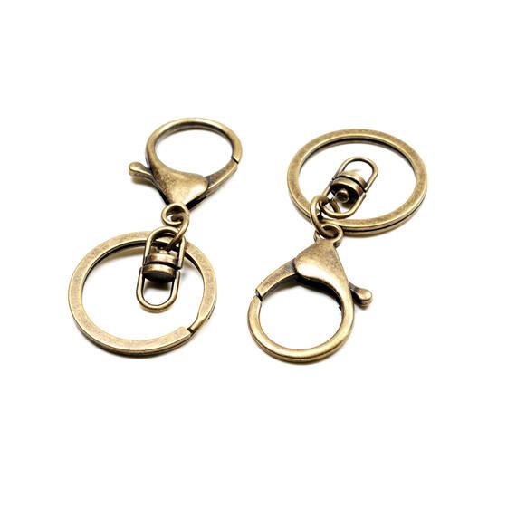 Karabinerhaken mit Drehkupplung und Schlüsselring in antik bronzefarben 2 Stück