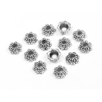 formschöne Perlkappen als Blume in antik silberfarben 6 mm 50 Stück