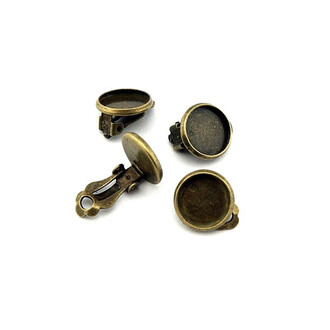 4 Ohrclips in antik Bronze für Cabochons 12 mm
