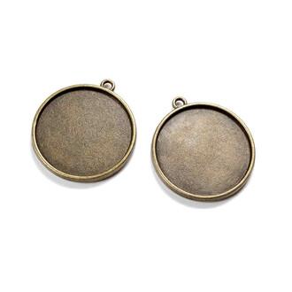 Fassungen mit 2 Aufhängungen für 25 mm Hohlperlen in antik bronzefarben 2 Stück