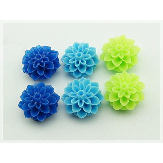 6 Cabochon Blumen im Set in blau, türkis und grün, 15 mm
