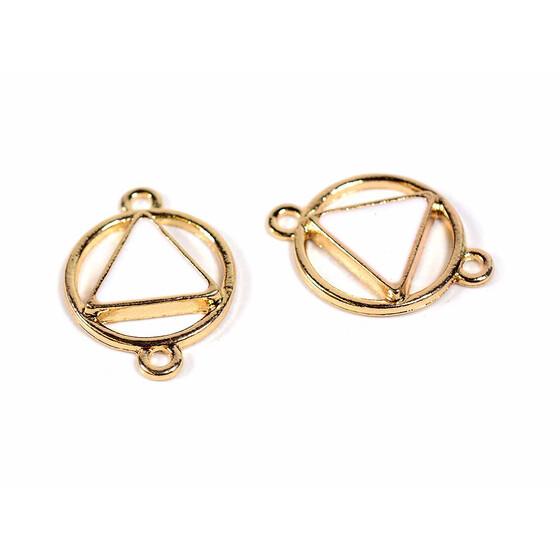 Verbinder mit einem weiß emaillierten Dreieck in goldfarben 2 Stück DIY Schmuck