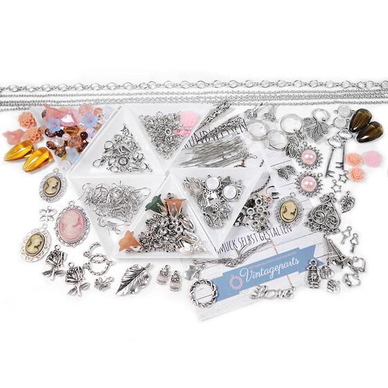 c1386b4318be9 Set ISA Einsteigerset zum Silberschmuck basteln mit Perlenset in Nudetönen,  über 500 Teile