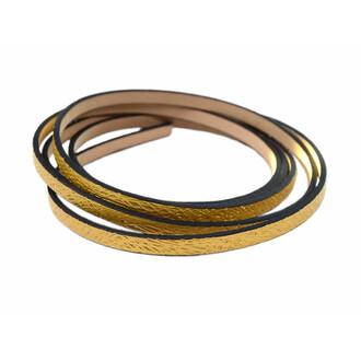 stylisches Kunstlederband in goldfarben 5 mm breit 1,10 m lang von Vintageparts