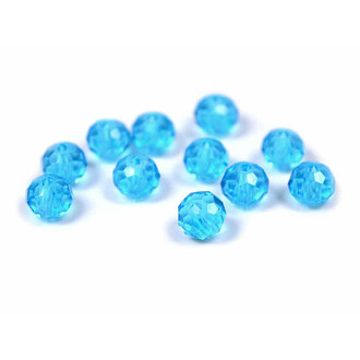 facettierte Glasschliffperlen 6 x 4 mm in aquamarine 30...