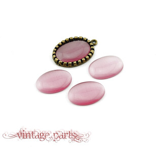 6 Cateye Cabochons in rosa, 18 x 13 mm