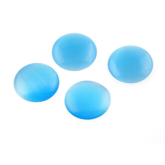 4 Cabochons 16 mm aus Cateye Glas in türkis