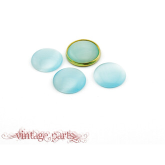 4 Cateye Cabochons in hellblau, 16 mm