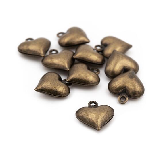 """/""""Made with love/"""" in antik Bronze 6 Herzen mit Schlüssel"""