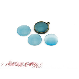 6 Cateye Cabochons in hellblau, 14 mm