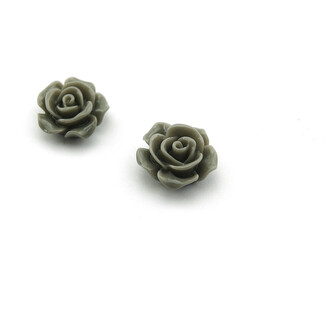 4 Cabochons als Rose in grau,16 mm