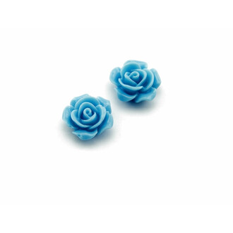 4 Cabochons als Rose in hellblau, 16 mm