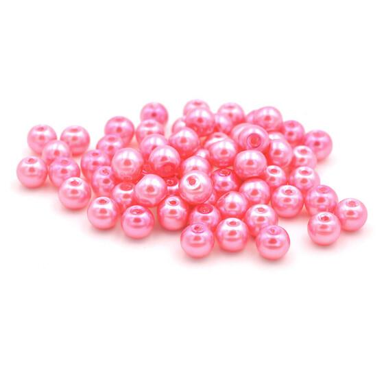 Crackle Glasperlen in pink und weiß 10 mm 10 Stück von Vintageparts DIY Schmuck
