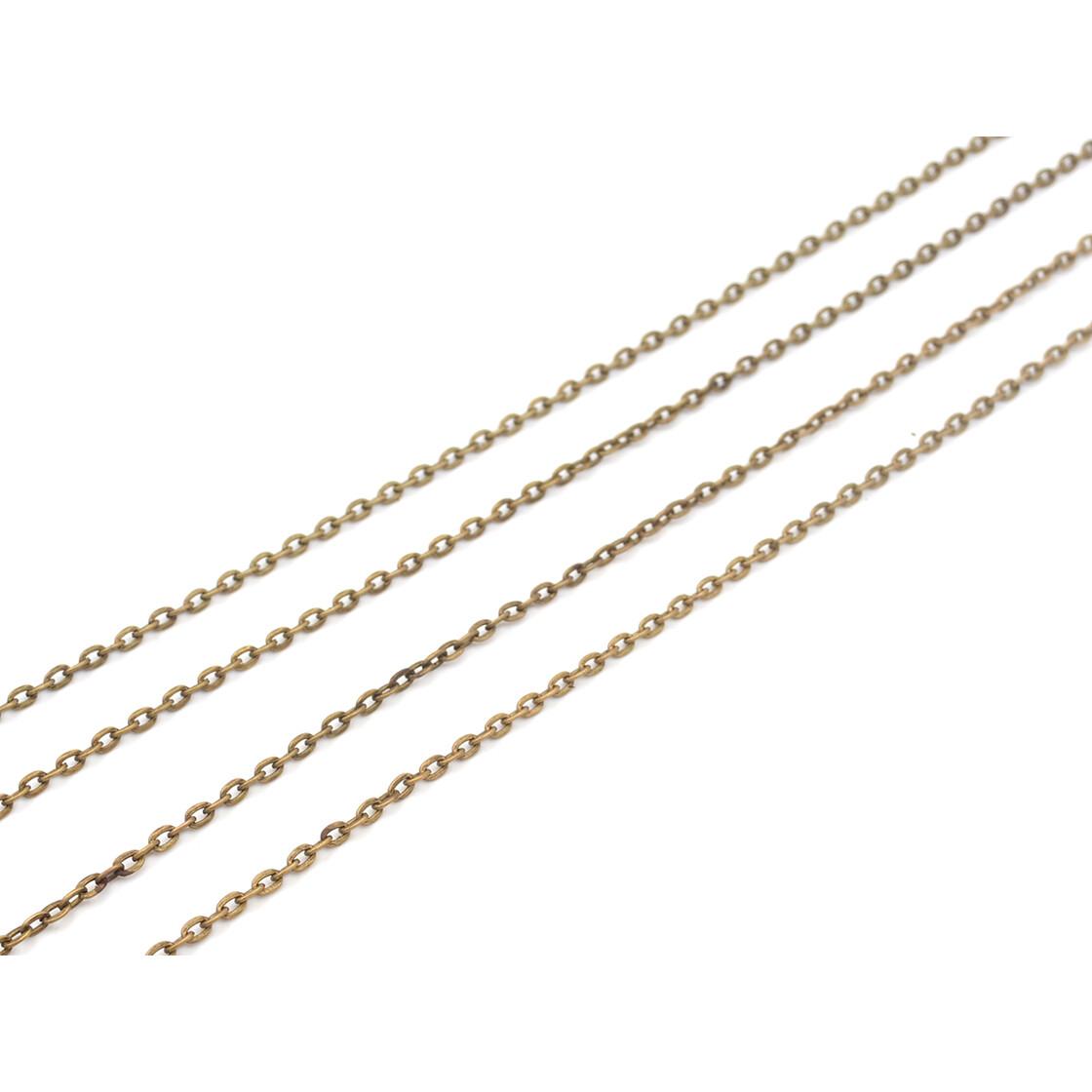 80 cm von Vintageparts 2 lange fertige Gliederkette aus Eisen in antik Bronze