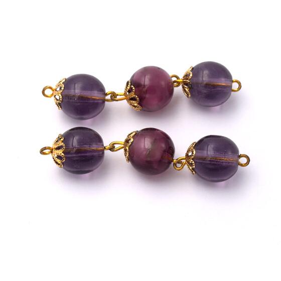 Vintageparts DIY drei klare Perlen als Verbinderelement in lachsrosa im 2er Set