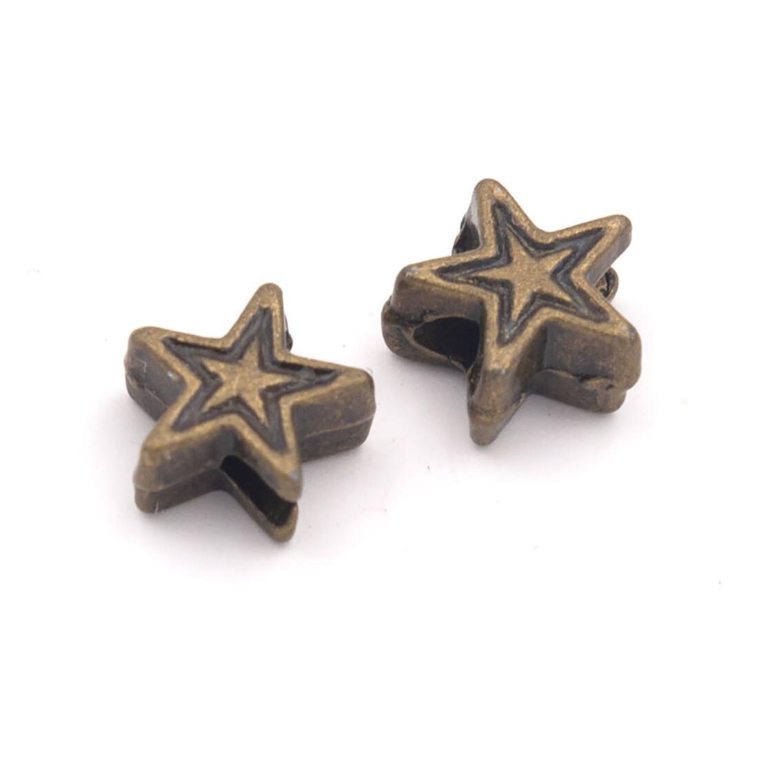 Zwischenperlen als Stern in antik silberfarben 5 mm 10 Stück von Vintageparts