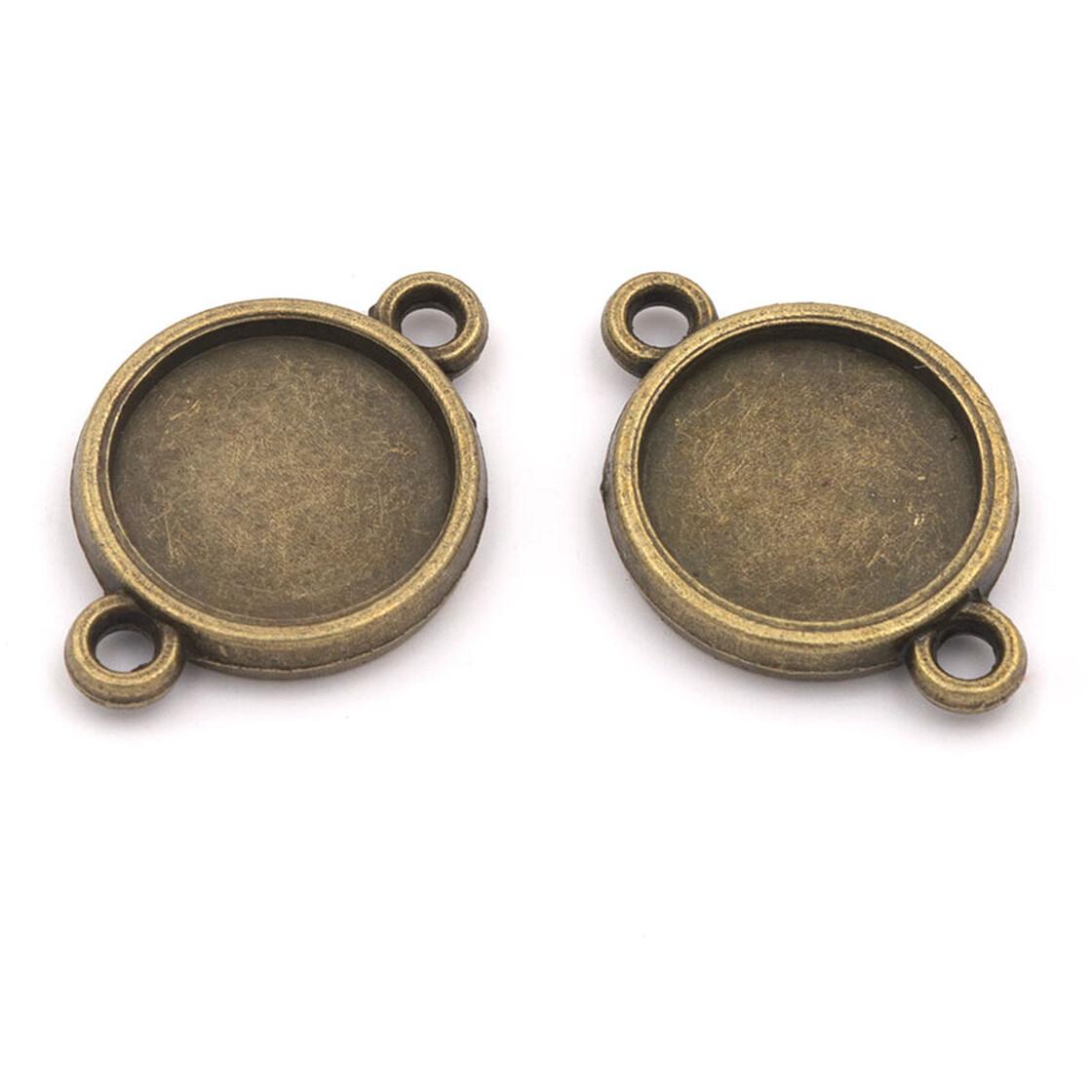 6 doppelseitige Fassungen für 12 mm Cabochons in antik Bronze