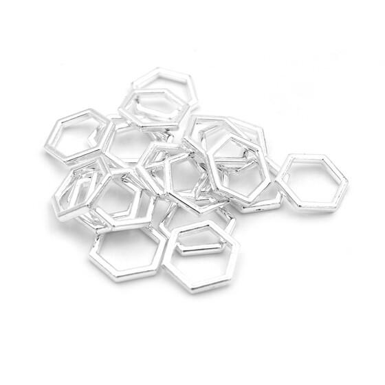 20 schlichte Acrylringe als Verbinder in silberfarben