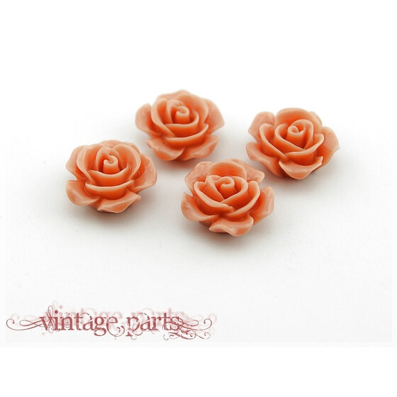 4 Cabochons als Rosen in apricot, 16 mm