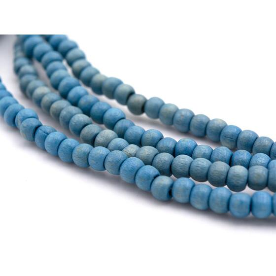 Vintageparts DIY Perlen aus Holz in blau 6mm 40 Stück