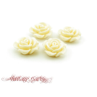 4 Cabochons als Rose in creme, 16 mm Durchmesser