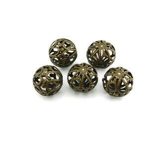 6 filigrane Perlen in vintage Bronze, 20 mm