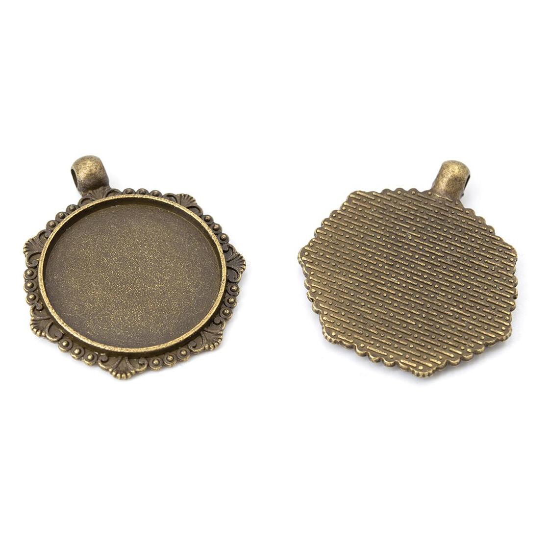 2 stabile Fassungen in antik bronzefarben für 25 x 18 mm Cabochons