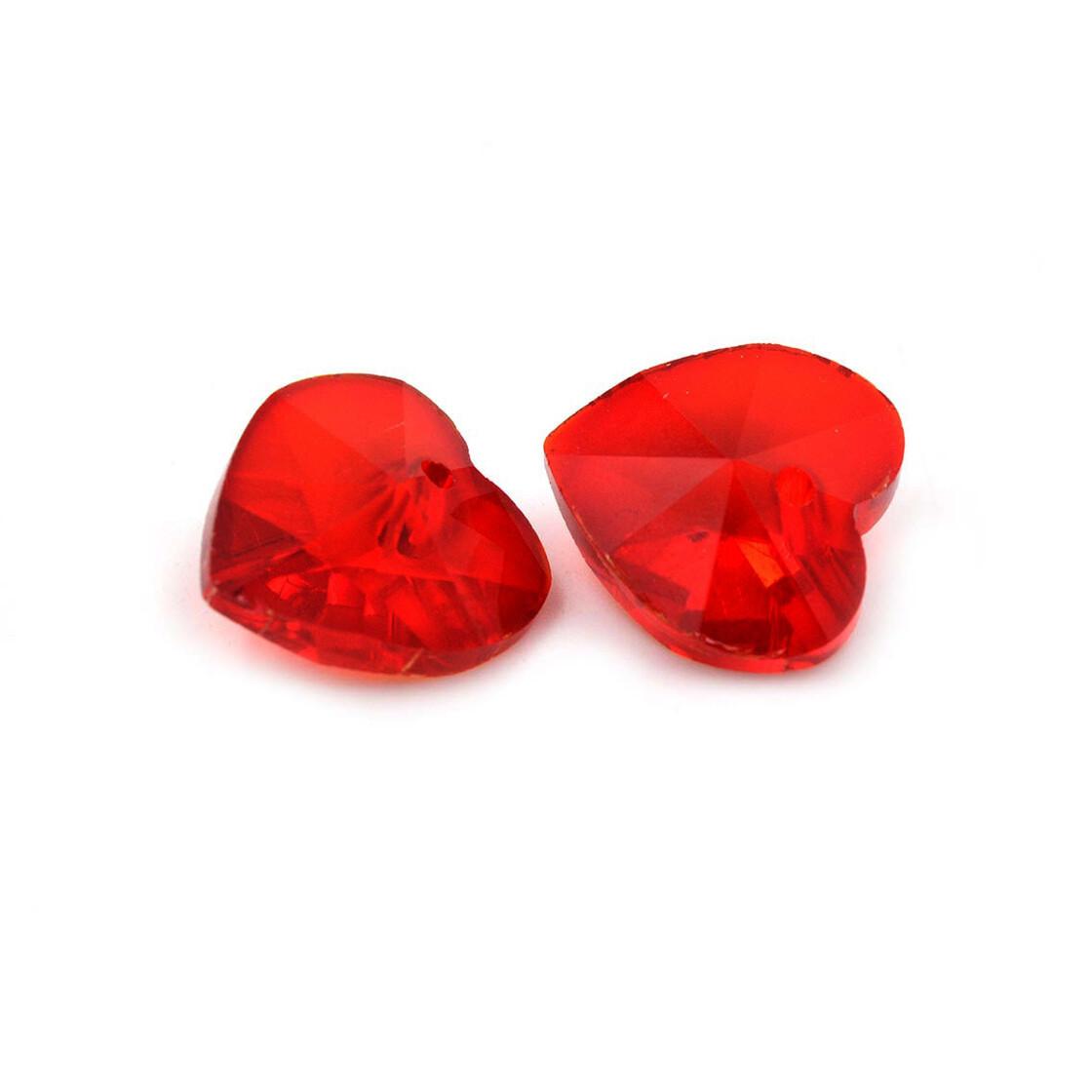 Vintageparts DIY Glasschliffperlen als Tropfen in rot mit Perlenglanz 8x12 mm 10