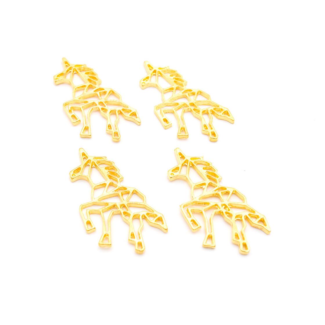 Anhänger Einhorn im Origami Stil in goldfarben 4 Stück von Vintageparts