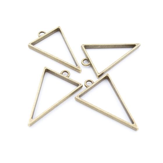 Vintageparts DIY Anhänger als Dreieck in antik bronze 4 Stück