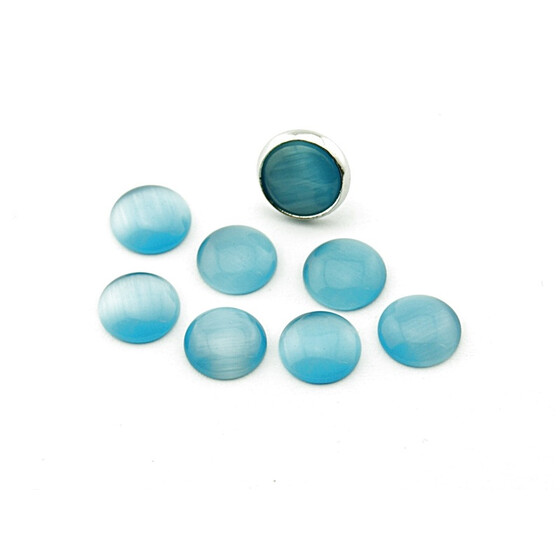 10 Cateye Cabochons in hellblau, 12 mm