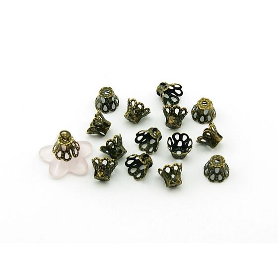 6 mm 50 petits Perlkappen argenté