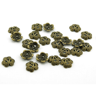 10 Perlkappen in vintage Bronze, 13 mm