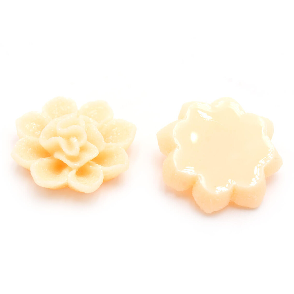 Vintageparts DIY Cabochons als Seerose in vanille 18 x 16 mm 6 Stück