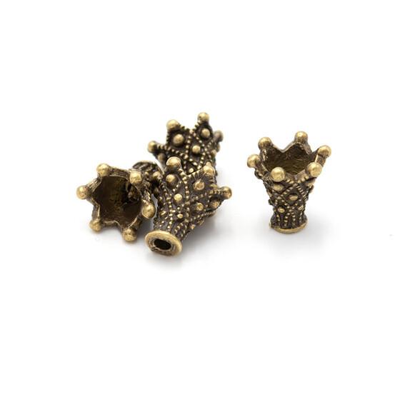 30 hohe Perlkappen in antik Bronze 10 mm