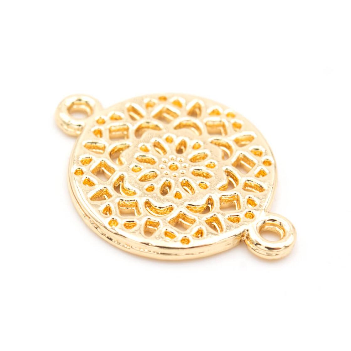 Vintageparts DIY Verbinder Mandala in light goldfarben 4er Set