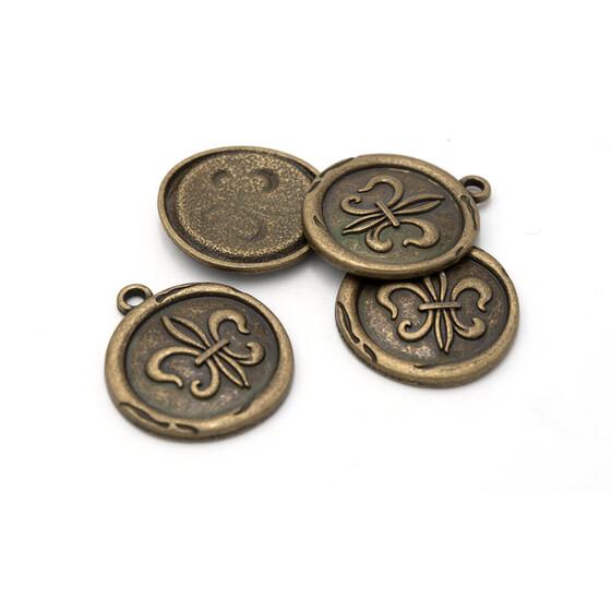 große Anhänger als Feder in antik bronzefarben 4 Stück von Vintageparts